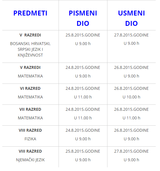 Termini popravnih ispita 2014-2015